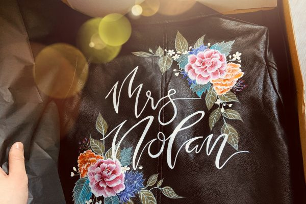 hand-painted wedding jacket mama inc. studio mrs engaged bride to be wifey mrs jacket leather bespoke pinterest instagram facebook