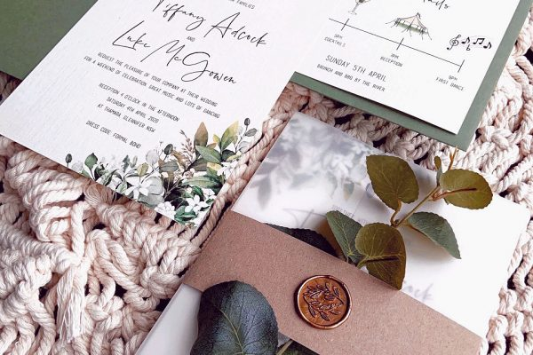 eucalyptus sky wedding invite mama inc stationery