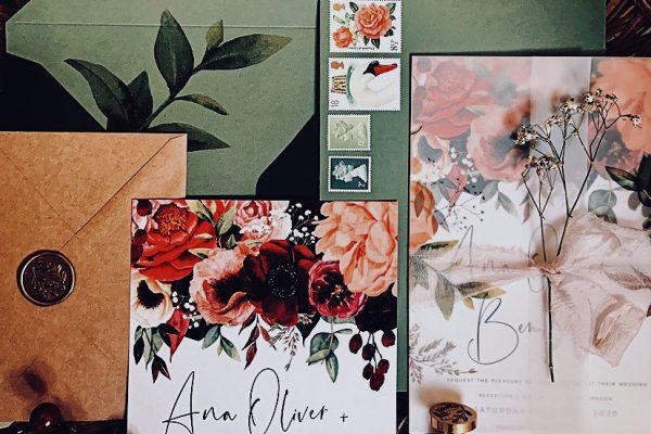 gypsy rose wedding invite stationery boho wedding